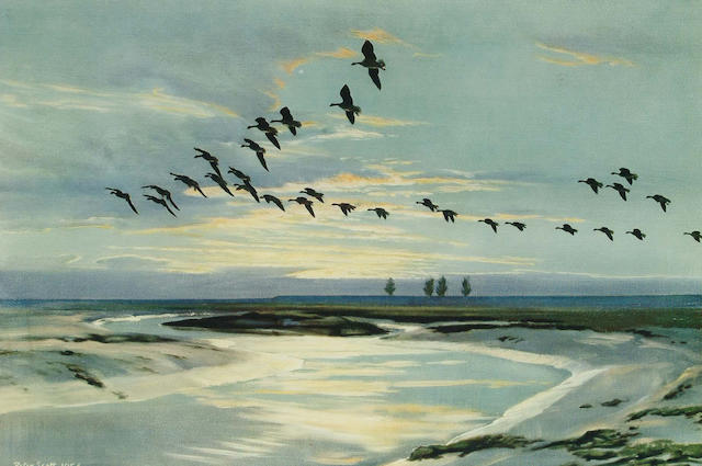 After Sir Peter Markham Scott Geese at sunset, (image) 35.3 x 53.8cm