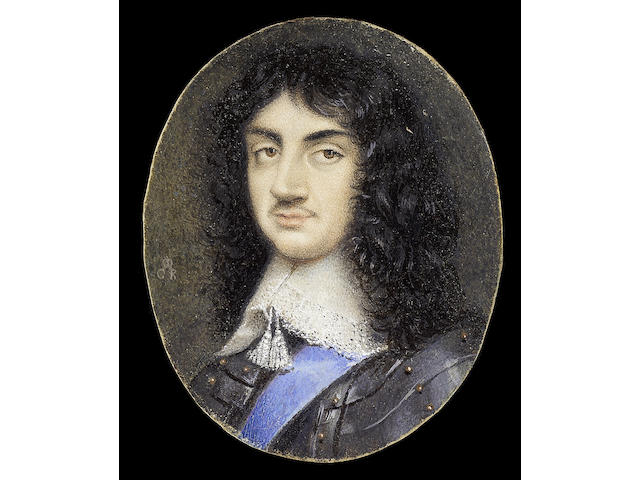 David des Granges, King Charles II of England (1630-1685), wearing armour, embroidered white lawn collar with tassels and the blue Garter ribbon, his natural hair worn long