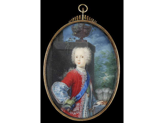 Attributed to Catharina Sperling, Prince Charles Edward Stuart, the young pretender (1720-1788), as a young boy, standing, wearing red velvet coat with silver embroidery and silver turned back cuffs, blue waistcoat, blue sash and medal of the Order of the Garter and the green ribbon and medal of the Order of the Thistle, his gloved right hand on his hip, sword at his side beside a table with gold crown adorned with the Prince of Wales feathers and inscribed ICH DIEN, the background with pillar and urn, wooded landscape in the distance