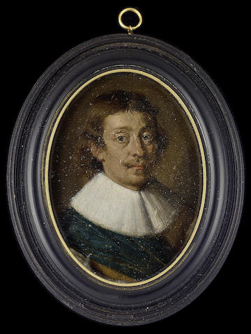 Dutch School, A Gentleman, wearing buff jerkin with sleeves slashed to reveal white, white lace ruff and blue-green sash