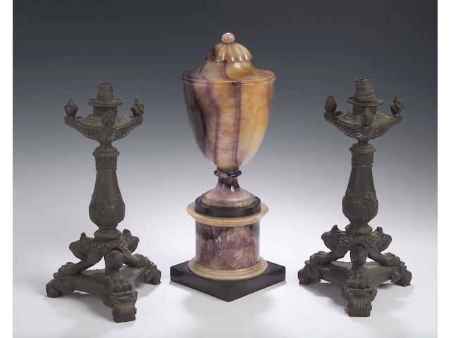 A Neoclassical style Blue John urn,