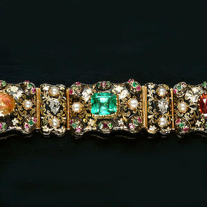 A gold, enamel and gem-set bracelet,