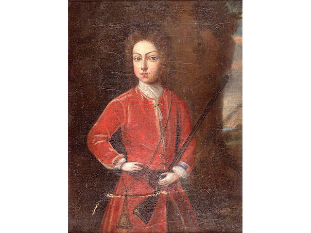 British School c1800 The Young Hunter 28x21cm