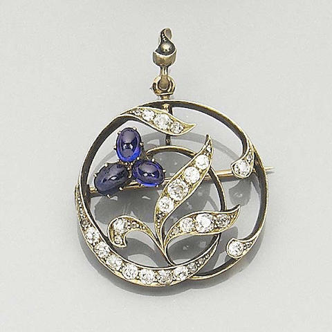 A late nineteenth century sapphire and diamond brooch/pendant,