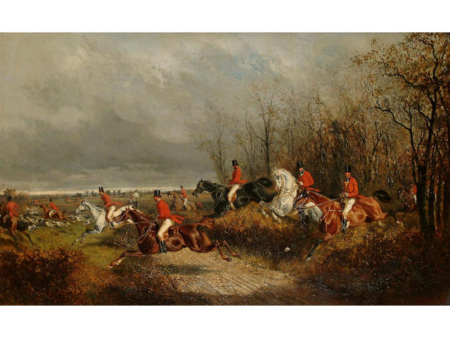 Alexander Ritter Von Bensa (German, 1820-1902) The Hunt, 45 x 73.5cm