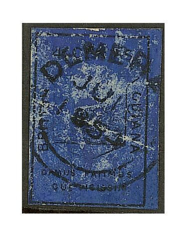 British Guiana: 1852 imperf. 4c. black/deep blue used, B.P.A. Certificate (1955) states genuine but creased, rubbed and repaired, nevertheless of good appearance for this very scarce stamp. (407)
