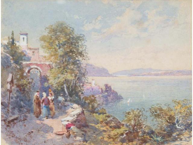 Charles Rowbotham (British, 1856-1921) Amalfi, 11 x 14 cm, (2).
