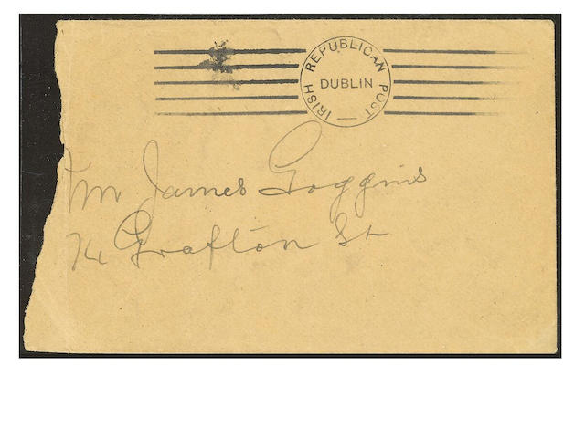 "Ireland: Undated locally addressed envelope, bearing ""IRISH REPUBLICAN POST/DUBLIN"" roller cancellat"