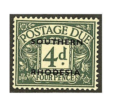 Southern Rhodesia: 1951 Postage Due 4d. dull grey-green unmounted mint, fine and scarce. SG £180. (411)