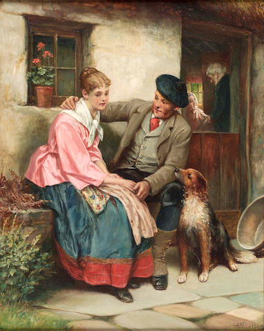 Alfred W Bayes (19/20thc) Comforting words 51x41cm