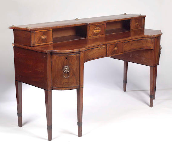 A Scottish Regency mahogany and inlaid inverted breakfront sideboard,