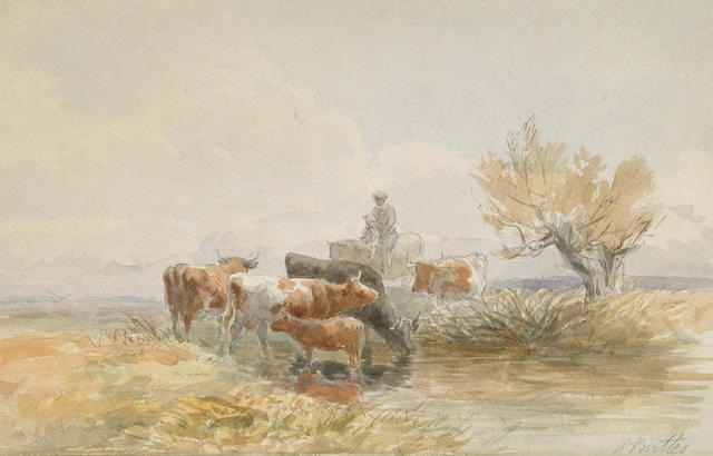 Harry Birtles (British, fl.1880-1905) Cattle watering, 20.5 x 32 cm.
