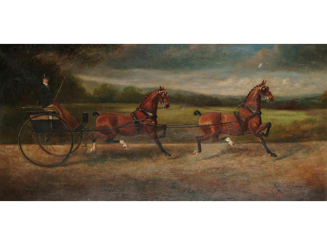 Herbert H. St John Jones of Nantwich (British, fl.1905-1923) Champion Tandem Team, Hopwood Spark and Hopwood Horace, 25 x 51 cm.