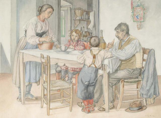 Harry Morley (British, 1881-1943) Teatime, 37 x 50 cm.