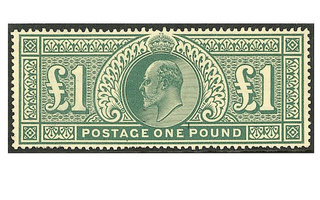 1911-13 Somerset House: £1 deep green, fresh unmounted mint, some uneven perfs at base, otherwise fi