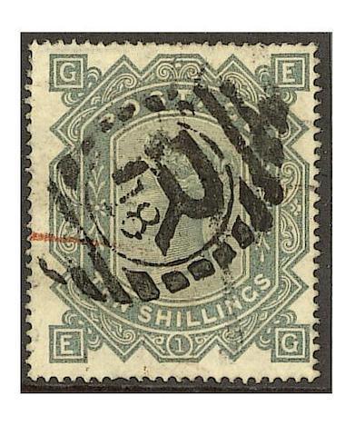 1867-78 wmk. Maltese Cross: 10/- greenish-grey EG used, few minor imperfections, otherwise fine.