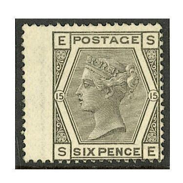1873-80: 6d. grey plate 15 SE, fine unused.