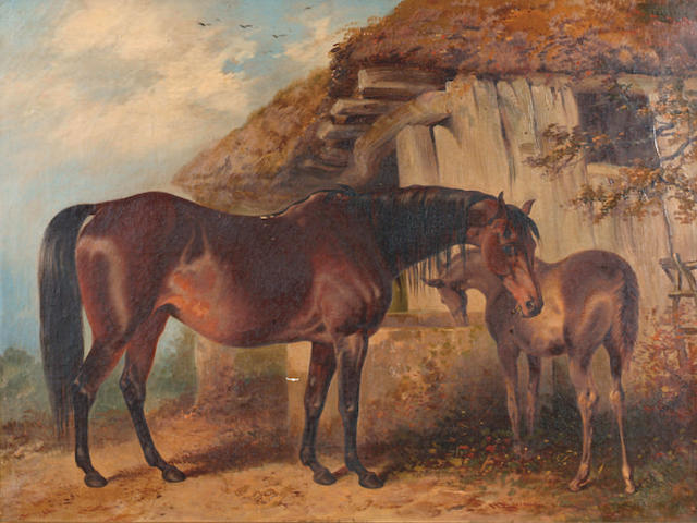 Henry Barraud (1811-1874) 'A mare and foal outside a barn'