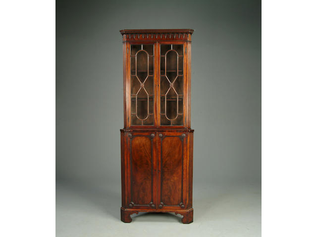 George III style mahogany tall cabinet