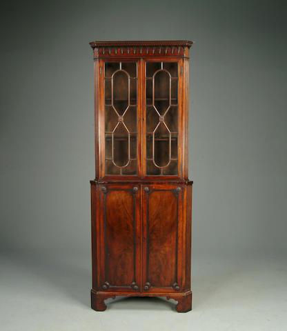 George III style mahogany tall cabinet