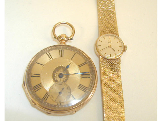 Omega: a lady's 9 carat gold wristwatch, 2