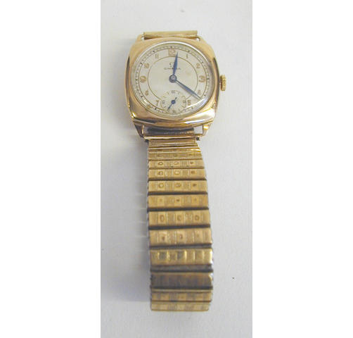 Omega: a gentleman's 9 carat gold cushion-shaped wristwatch,