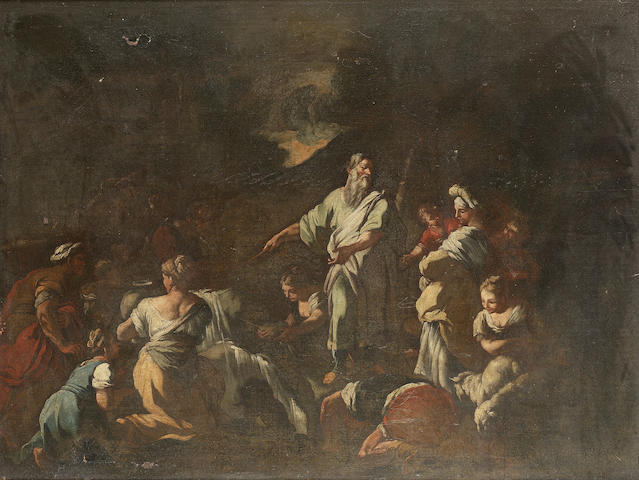Neapolitan School, early 18th Century Moses striking the rock 75.6 x 101.6 cm. (29¾ x 40 in.)