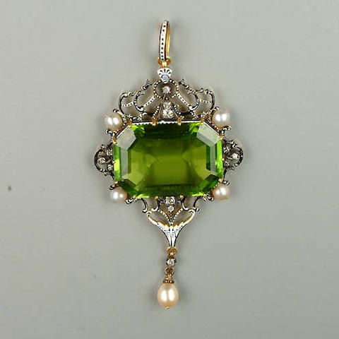 A late 19th century peridot and enamel pendant by Carlo Giuliano