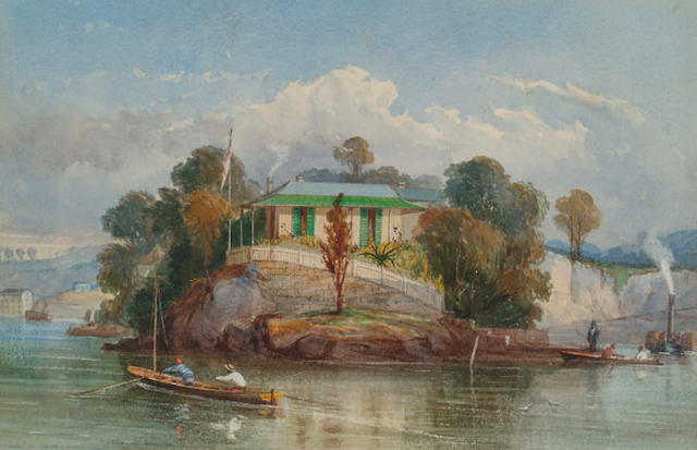 Circle of Richard Principal Leitch 'A colonial house on a rocky promontory with figures in boats'