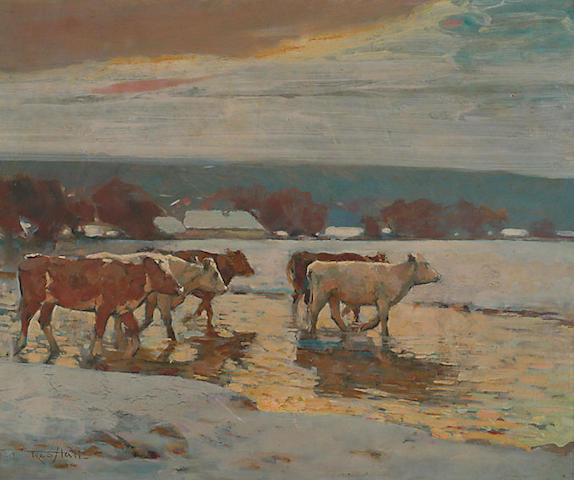 Fred Hall (1860-1948) 'Cattle fording a river on a winter's evening'