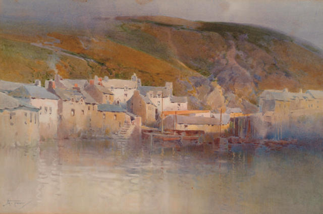 Arthur Tucker (1864-1929) 'Highland fishing village'