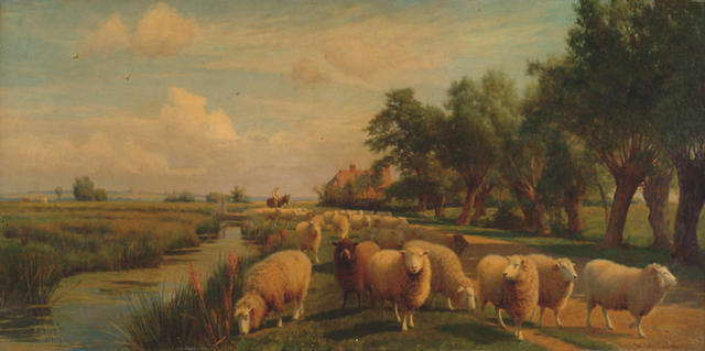 William Sidney Cooper (1854-1927) 'Marshlands, Kent - Drover with sheep along a river'