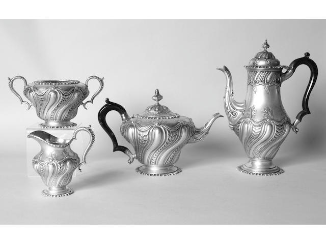 A late Victorian four piece tea and coffee set J.B.Carrington, 1892,