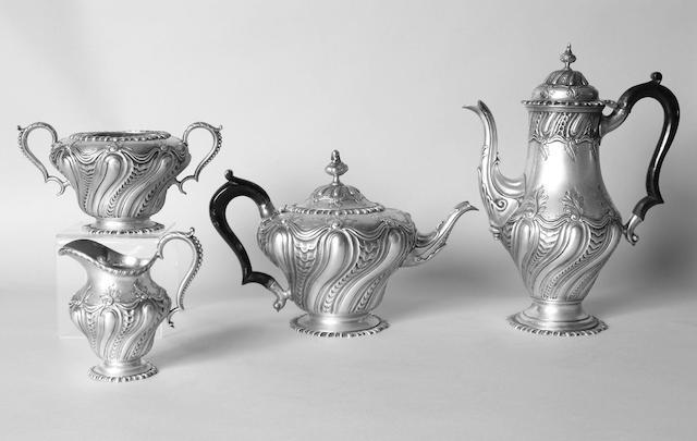 A late Victorian four piece tea and coffee set J.B.Carrington, 1892,
