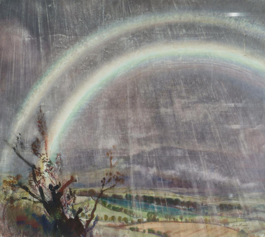 Dame Laura Knight RA (1877-1970) 'Rainbow and storm over a rural landscape' 72 x 81cm (28 1/4 x 32in)