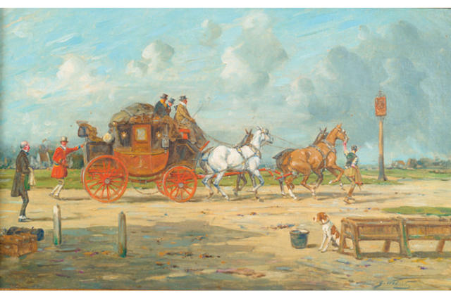 George Wright (1860-1942) 'London and Exeter coach arriving at a staging inn'