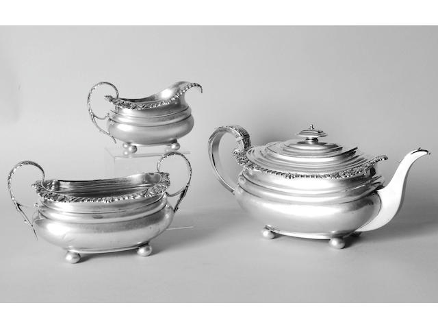 A George III Scottish three piece tea set, George McHattie, Edinburgh, 1816,