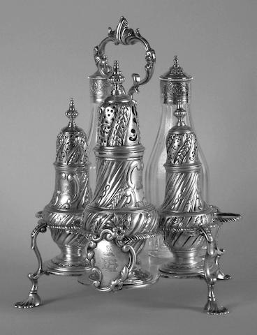 A George III Warwick cruet, Jabez Daniell & James Mince, 1768,