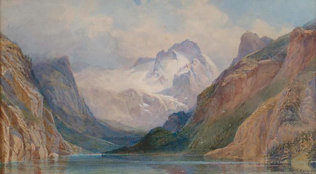 Edward Theodore Compton (1849-1921) 'Alpine scene with foreground lake'