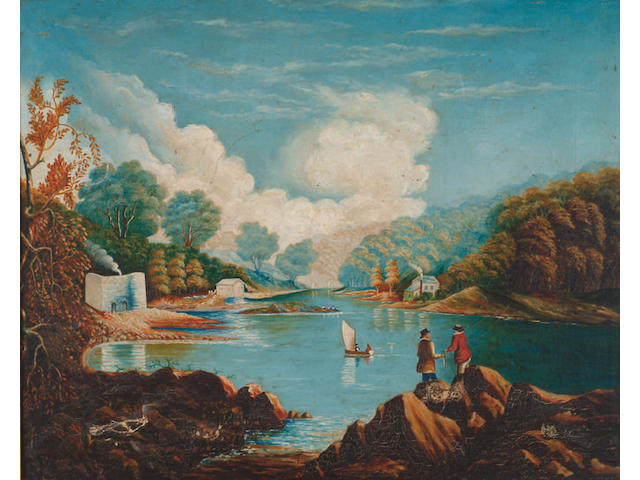 English Naive School (19th Century) 'Charcoal burning - a river landscape with figures, boat and industrial buildings' Oil on canvas 60 x 75cm (23 1/2 x 29 1/2in)