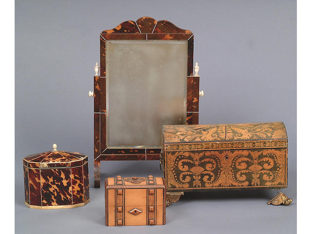 A George III tortoiseshell and bone inlaid decagonal tea caddy,