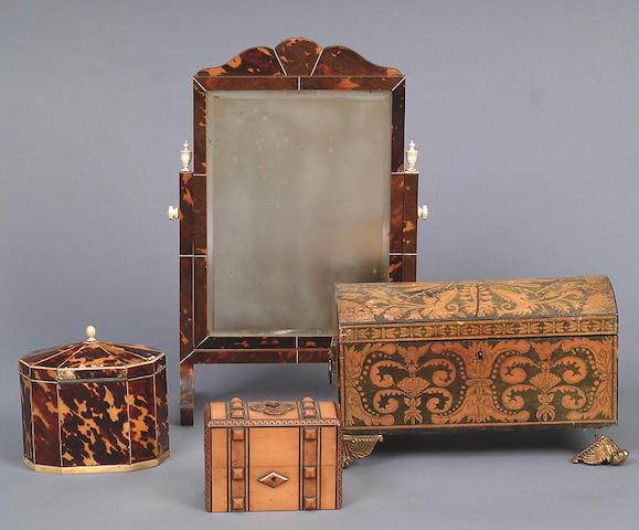 A George III tortoiseshell and bone inlaid decagonal tea caddy,