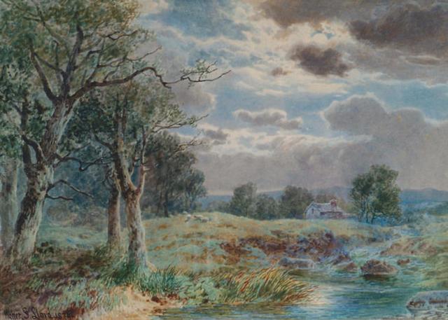 W Stuart Lloyd (fl.1875-1929) 'Moonlight on Hampstead Heath'