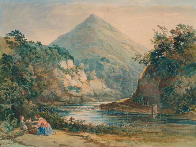 Circle of Francis Danby (1793-1861) 'Mother and children by a North Wales river' Watercolour 24 x 32cm (9 1/2 x 12 1/2in)