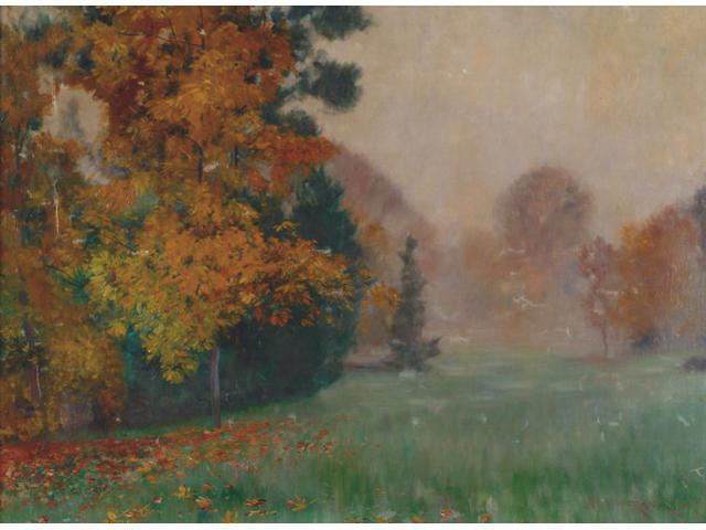 Philipp Franck (1860-1944 German) 'Parkland - a misty autumn day' Signed, oil on canvas laid down 71 x 96cm