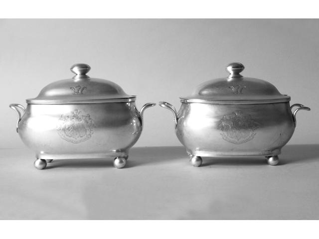 A pair of provincial sauce tureens and covers J.Hicks, Exeter 1828,
