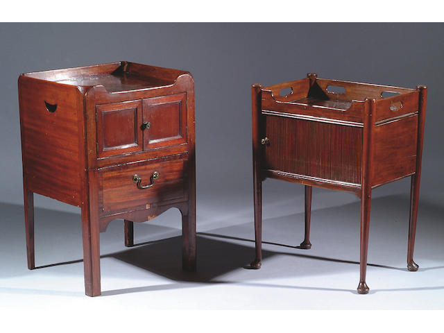 A George III mahogany tray top commode,