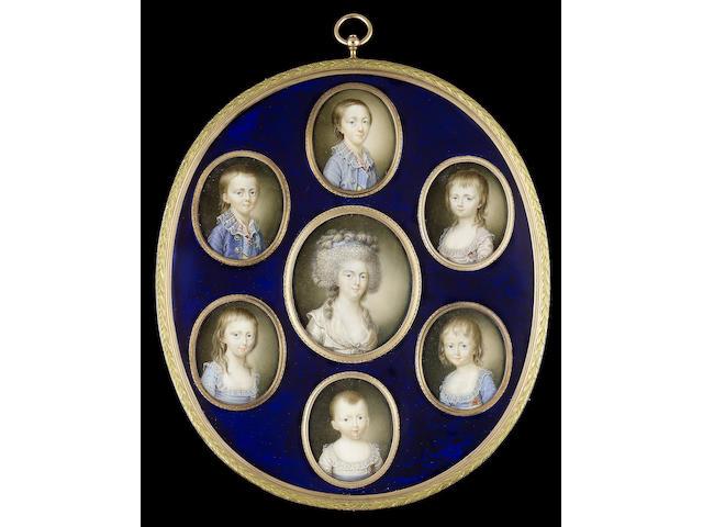 Henri François Gabriel Viollier, The Empress Maria Feodorovna (1759-1828) and her six eldest children, Alexander, Constantine, Alexandra, Helena, Marie and Catherine