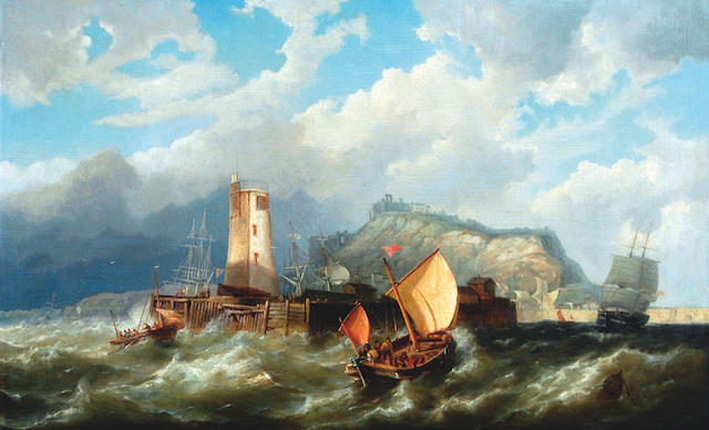 Pieter Christian Dommersen (1834-1908) 'Boats entering harbour in the face of a storm'