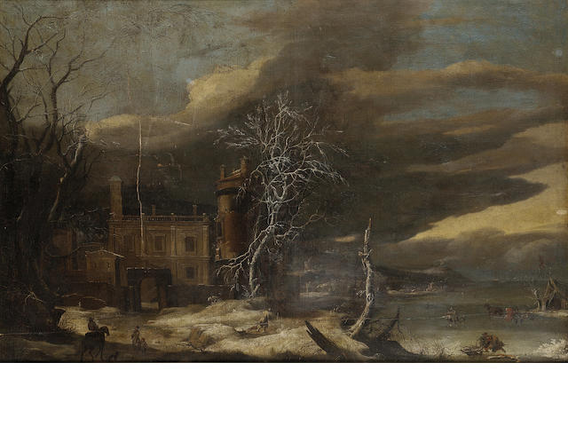 Circle of Anthonie Beerstraten (active Holland, 17th Century) A winter landscape with a frozen river